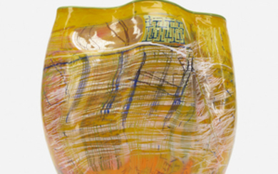Dale Chihuly, Yellow Soft Cylinder with Green Lip Wrap