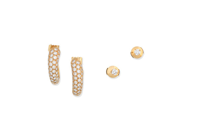 A pair of diamond earhoops and a pair of diamond earstuds