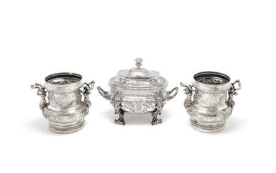 A pair of German silver wine coolers and a silver tureen and cover