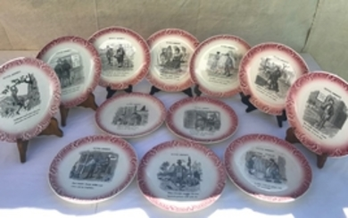 SET OF 12 FRENCH TRANSFER WARE CHARACTER PLATES
