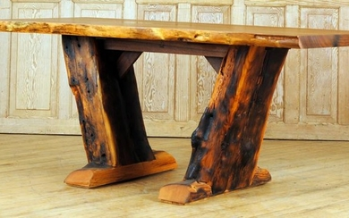 WALNUT AND PINE MODERN TRESTLE TABLE FREE EDGES