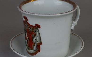 COAT OF ARMS with saucer - Krister, Waldenburg, around 1850.