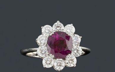Ring with central ruby