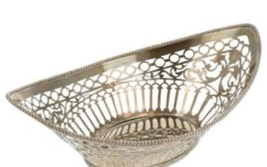 Puffs basket boat model with openwork decorations and soldered pearl edges silver.