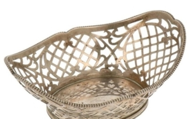 Bonbon basket with ajour openwork side and soldered pearl rim silver.
