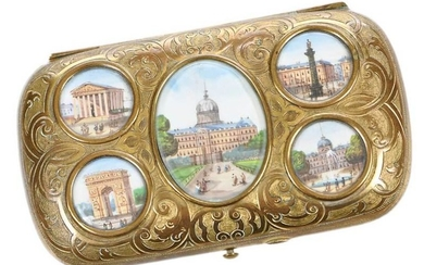 Gilt Sewing Kit with Inset Miniatures