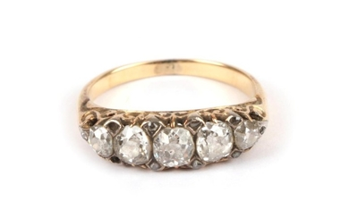 A Late 19th Century Diamond Five Stone Ring, the graduated...