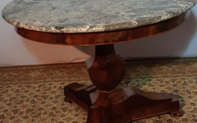 19TH C. FRENCH EMPIRE MARBLE TOP GUERIDON