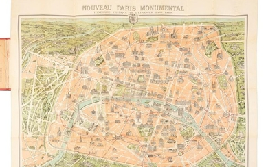Beautiful 19th c. color map of Paris