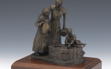 Bronze Figural Group, Mother and Children, on Wood Pedestal