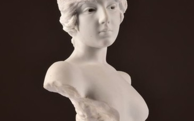 """Emmanuel Villanis (French, 1858-1914)- Impressive and rare Bisque bust - Young woman """"TANAGRA"""" - 40 cm (1)"""