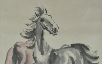 Chinese Scroll Painting of Horses