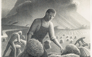 GRANT WOOD Approaching Storm. Lithograph, 1940. 302x225...
