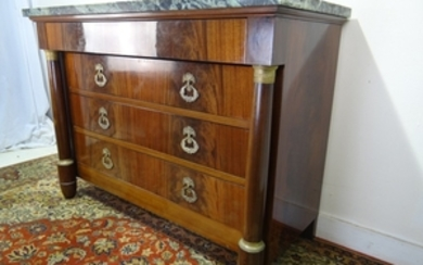FRENCH EMPIRE STYLE MAHOGANY M/TOP COMMODE