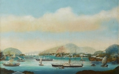 UNKNOWN ARTIST (american, 19th century) UNTITLED (STEAMBOATS) Oil on...