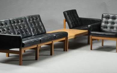Ole Gjerløv Knudsen & Torben Lind. Modular sofa with side table and lounge chairs, model Moduline