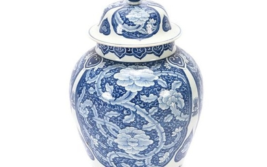 A Large Chines Blue and White Lotus Baluster Vase with