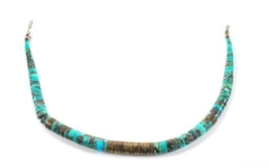 Southwestern Turquoise and Brass Bead Necklace