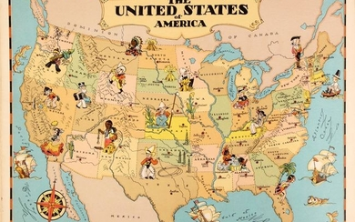 """Ruth Taylor's First Edition Pictorial Atlas, """"Our U.S.A. - A Gay Geography"""", White, Ruth Taylor"""