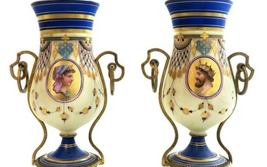 19th C. Pair of French Neoclassical Porcelain Vases