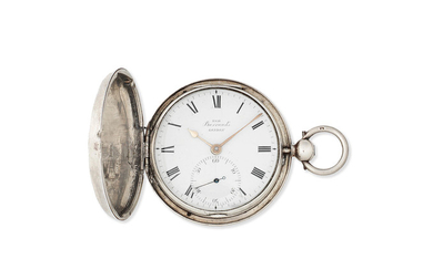 Barrauds, Cornhill, London. A silver key wind full hunter pocket watch with duplex escapement