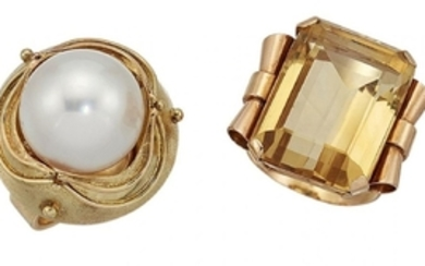 A citrine ring and a cultured pearl...