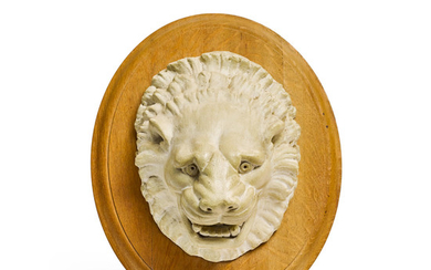 A Continental Plaster Lion Mask