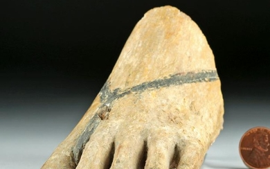 Egyptian Gesso'd Wood Left Foot - from Statue