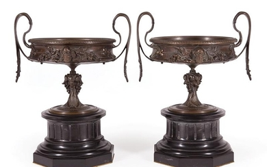 Empire-Style Bronze and Marble Tazzas