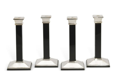 Four silver and black onyx candlesticks, Tiffany