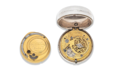 George Graham, London. A later cased silver key wind open face pair case pocket watch