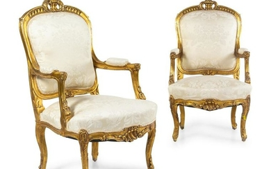 A Pair of Louis XV Style Giltwood Fauteuils