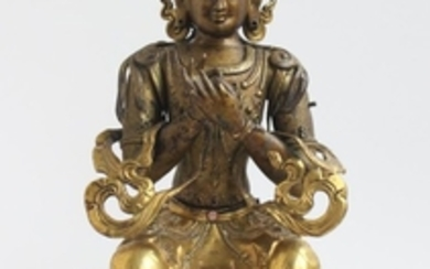 A Partly Gilt Figure of Maitreya, China 19th Century.