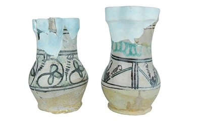 Two mugs Two mugs with ribbon handle and trilobed mouth...