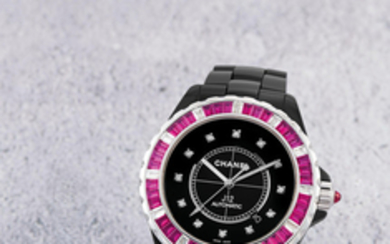 Chanel. A Very Rare Limited Edition Ceramic and White Gold, Ruby and Diamond-set Centre Seconds Bracelet Watch with Date