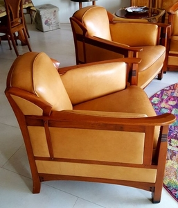 Lot Art Frits Schuitema Set Of 2 Art Deco Style Leather Armchairs Type August