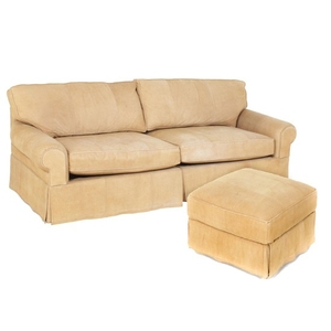 Lot Art Leatherman S Guild Contemporary Beige Leather Upholstered Sofa And Ottoman