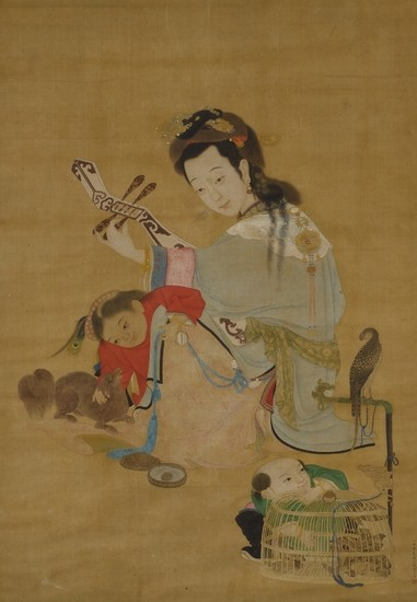 MAID PLAYING PIPA, Attributed to Chen Ruyan