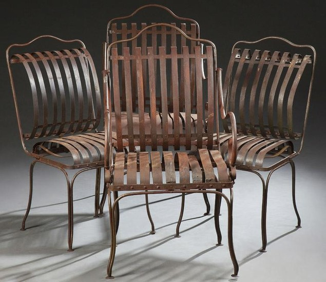 Set of Four French Wrought Iron Garden Chairs, late