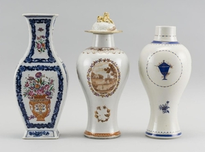 "THREE CHINESE EXPORT PORCELAIN GARNITURE VASES One with sepia scenic decoration and domed cover, height 11.5"", one with cobalt blue..."