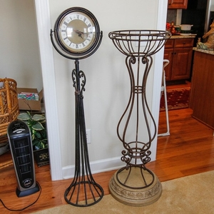 Lot Art Wrought Metal Plant Stand And Floor Clock