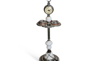 Standing Lighted Ash Tray with Clock