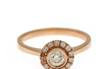 A diamond ring set with numerous brilliant-cut diamonds totalling app. 0.30 ct., mounted in 14k rose gold. Size 54.