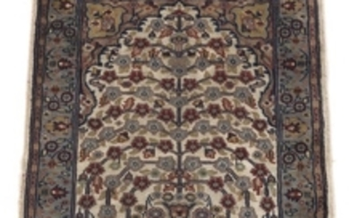 """Very Fine Hand-Knotted Tabriz Silk """"Tree of Life"""" Pictorial Carpet, Signed, with Poem"""