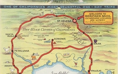"""Map Showing Main Highways to Beringer Bros. Winery and Other Interesting Points"""