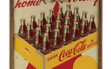 PAINTED TIN COCA-COLA 24-PACK DOUBLE-SIDED TIN SIDEWALK
