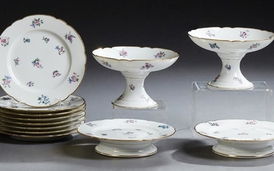 Twelve Piece French Old Paris Porcelain Dessert Set,