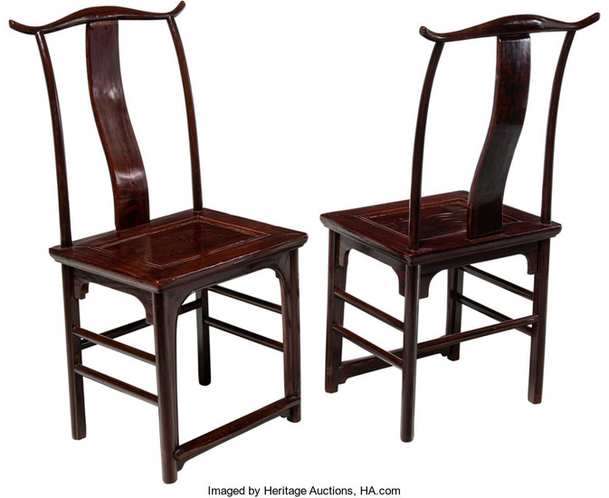 21290: A Pair of Chinese Elmwood Side Chairs, 19th cent