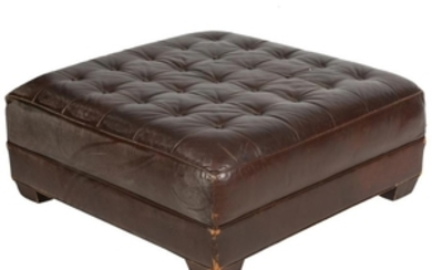 Oversized Tufted Leather Ottoman