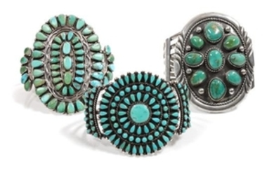 Three Southwestern Silver and Turquoise Cluster Bracelets
